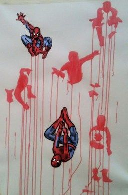 Spiderman 6 Poses. Acrylic on A1 Cartridge Paper with Digital on top by Chelsie Cater-Tooby