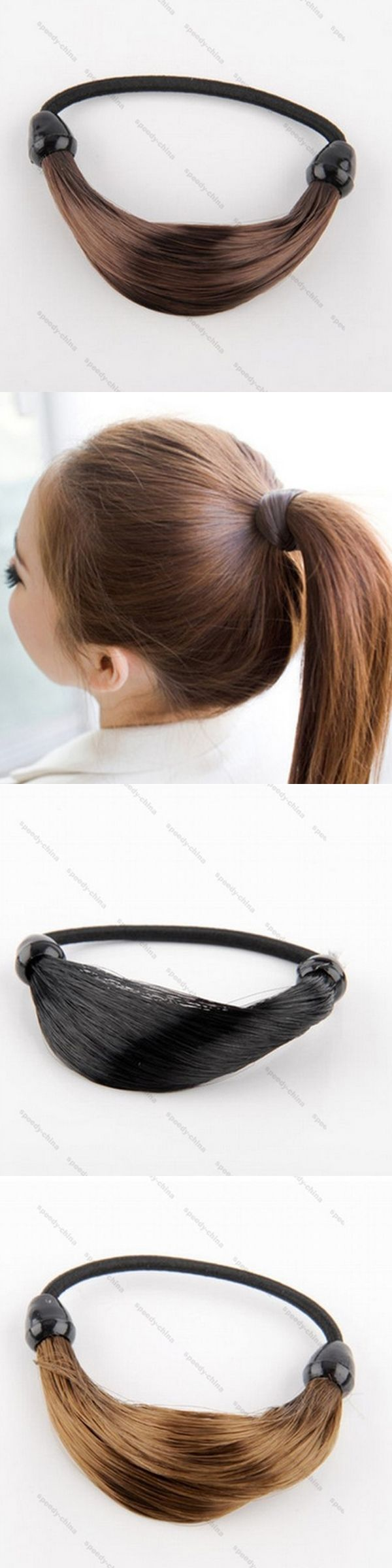 2PCS Simulation Of Wig Ring Hair Rope Ponytail Pigtail Hair Band Headdress 3 Colors Wholesale Hot Hot Item