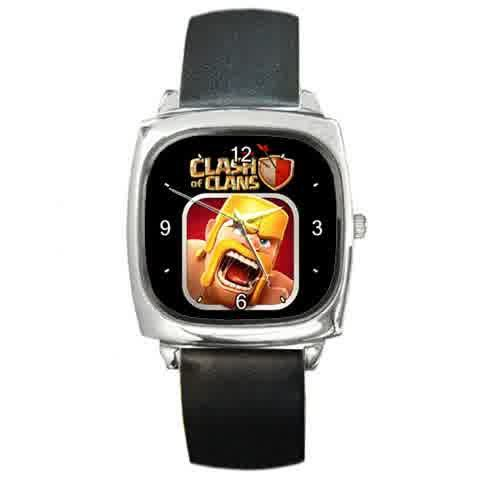 Clash of Clans design Custom Square Metal Watch by tatashop22