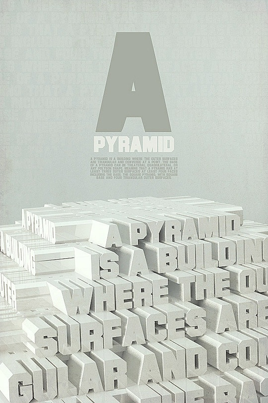 Pyramid #typography: Typography Posters Design, Posters Typogrphi, Graphics Design Typography, Picture-Black Posters, Design Graphics, Typography Design, Types Design, Typography Inspiration, 3D Typography