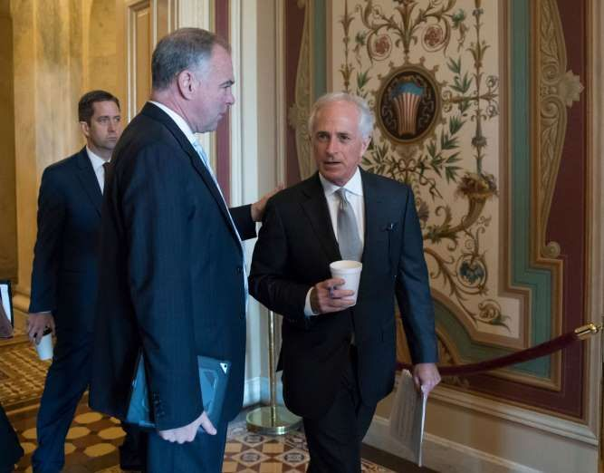Trump's Afghanistan plan set to spark fresh congressional debate -  August 22, 2017:   Sen. Tim Kaine (D-Va.), center, with Senate Foreign Relations Committee Chairman Sen. Bob Corker (R-Tenn.), right, on Aug. 3, at the U.S. Capitol.