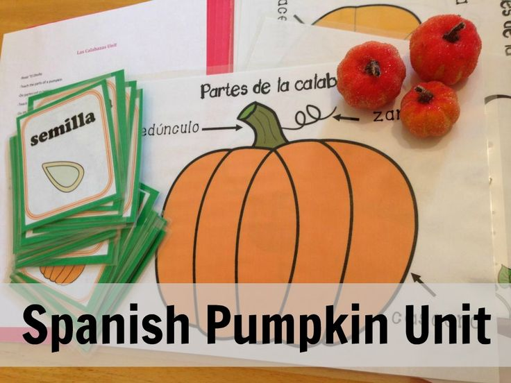 Spanish lessons: Pumpkin Unit. Includes Spanish vocabulary list, books, and ideas for activities. A fun fall activity to do with kids learning Spanish.  http://debbiespanish.blogspot.com/2014/08/pumpkin-unit.html