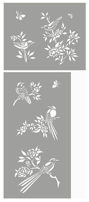 Small stencils like this Chinoiserie Birds Stencil would create a beautiful affect to a FLXIT