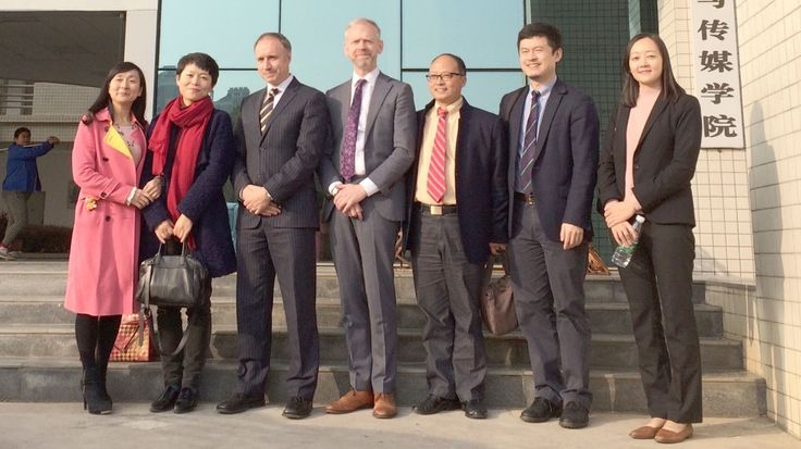 Warren Harrison, Justin Greetham, Teesside University China office & Wuhan Polytechnic University team after successful day of talks #chinadiaries