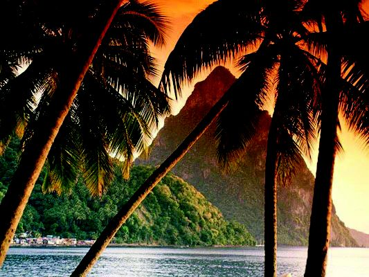 There's nothing quite like a fiery sunset on Saint Lucia.