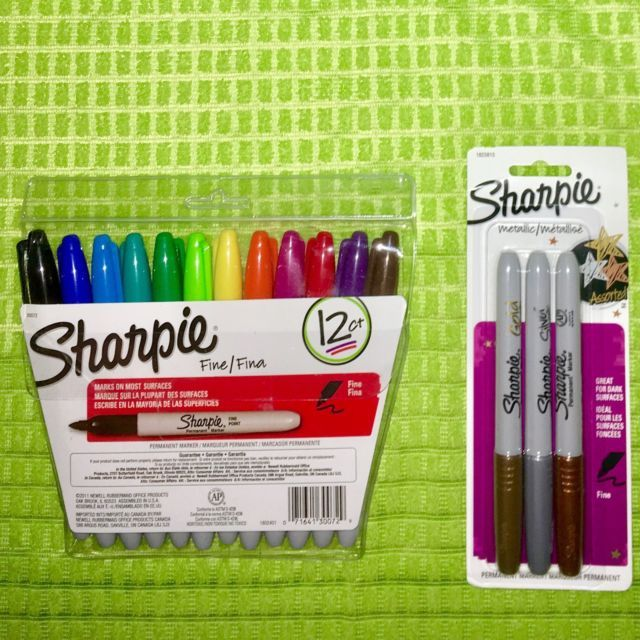 Sharpie Permanent Markers Fine Point Lot 12 Ct Colors Pouch & 3 Ct Metallic Pack   eBay