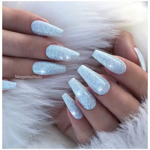 Ice Blue Glitter Coffin Nails By Margaritasnailz Sparkly Acrylic Nails Blue Glitter Nails Acrylic Nails Coffin Glitter