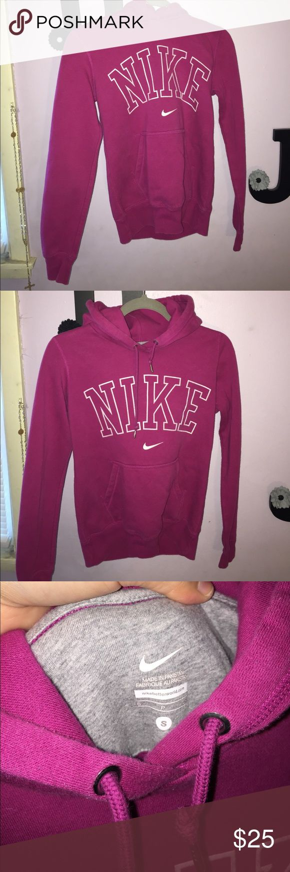Nike hoodie Size small purple/pinkish hoodie with white nike lettering Nike Tops Sweatshirts & Hoodies