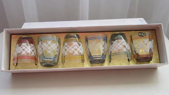 1970 Glasses. Boxed Retro Glasses. Retro Shot Glasses. Boxed