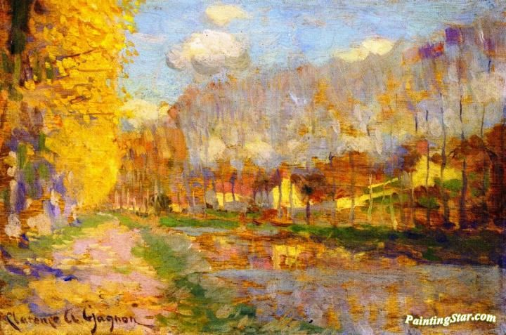 Canal du Loing, Moret Artwork by Clarence Gagnon Hand-painted and Art Prints on canvas for sale,you can custom the size and frame