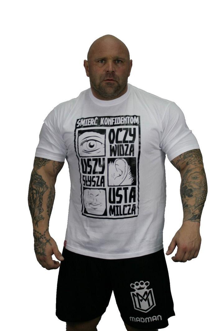 Koszulka 'Śmierć Konfidentom' biała - przód ---> Streetwear shop: odzież uliczna, kibicowska i patriotyczna / Przepnij Pina!