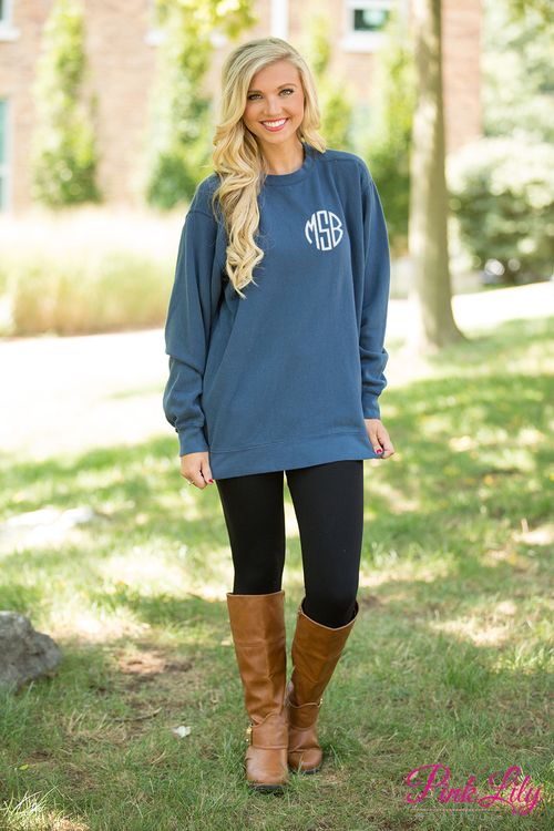You're sure to fall in love with our brand new Comfort Colors Monogrammed Sweatshirts! These are simply a classic way to show off your monogram all season long - we know you'll love layering them over your favorite tees and jeans for a classic fall look!