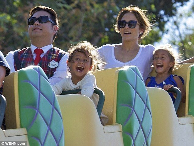 Scream if you want to go faster! Jennifer Lopez enjoys a thrilling day riding roller coasters at Disneyland with her young twins