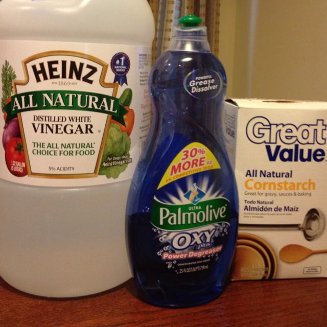 "BEST soap scum remover!!  This REALLY works well.  After trying a few other Pinterest suggestions, I made this.  It's odd, but it's GREAT.  Make a vinegar ""gel"" by thickening vinegar with cornstarch.  The vinegar CLINGS to what ever you spray it on...thus gives it more time to work.  A little detergent cuts grease.  I heated 1 cup of vinegar and 1 T corn starch in the microwave for 2 minutes.  Add 2 T dish detergent and put it in a spay bottle.  Spray. Wait 1hr. Wipe. Rinse."