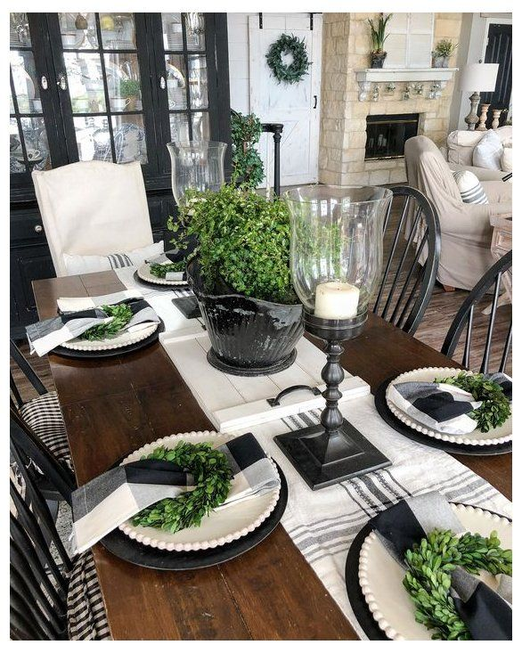 Black Dining Table Centerpiece I Like The Buffalo Check Napkins On The Whi Large Farmhouse Dining Table Dining Room Table Decor Christmas Dining Room Table