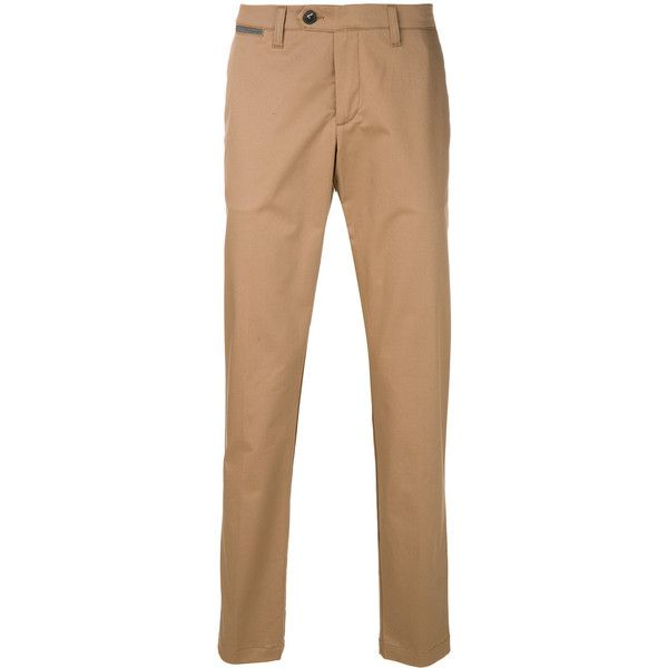 Eleventy classic chinos ($270) ❤ liked on Polyvore featuring men's fashion, men's clothing, men's pants, men's casual pants, mens chino pants, mens chinos pants and brown mens pants
