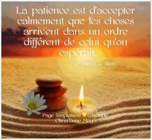 La patience est d'accepter calmement que les choses arrivent dans un ordre différent de celui qu'on espérait.