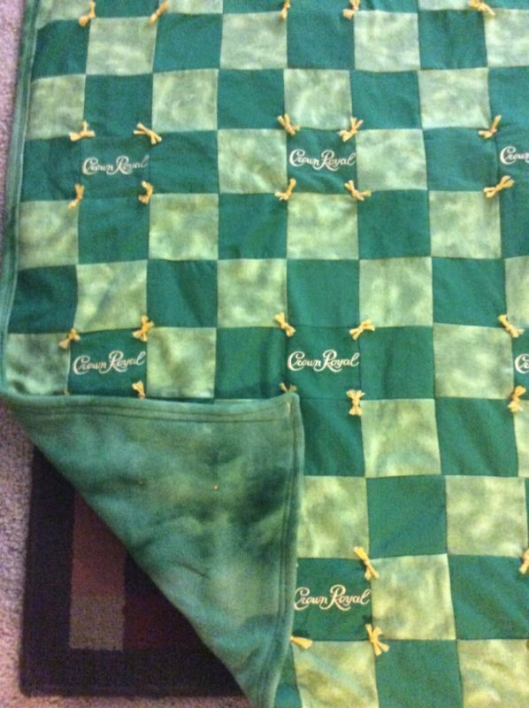 Green Crown Royal Quilt Throw Blanket