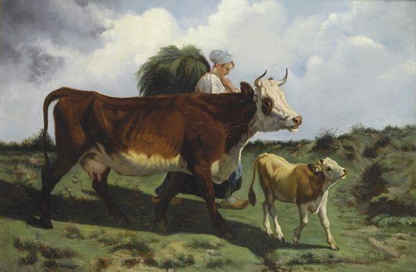 Pananti Casa d'Aste - Palizzi Giuseppe : Contadina, mucca e vitellino - Olio su tela - Asta Autori dell'800-900 - I - Galleria Pananti - Casa d'Aste