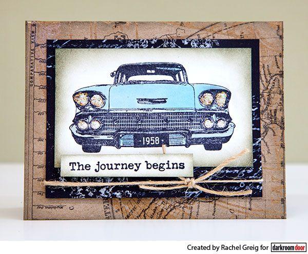 Card by Rachel Greig using Darkroom Door Classic Cars Rubber Stamp Set
