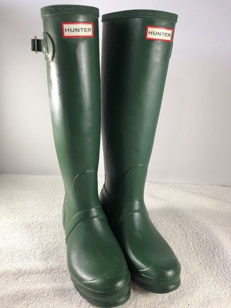 Hunter Original Tall Wellies Rubber Rain Boots - Green - Women's Size 8  | eBay