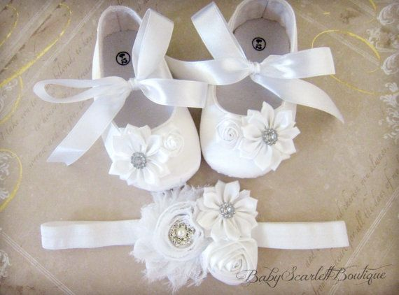 White Satin Baby Girl ShoesSoft Sole Shoes by babyScarlettBoutique, $27.99