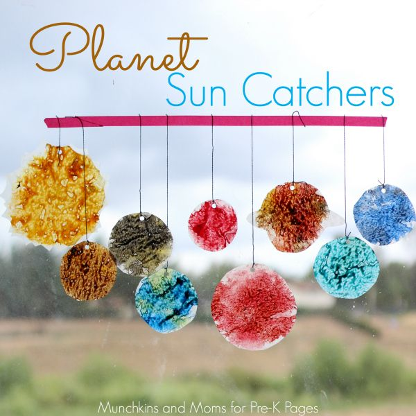 Fun Idea! Each planet has it's own set of colors. Kids use sharpeners to make wax shavings. Planet Sun Catchers - Pre-K Pages