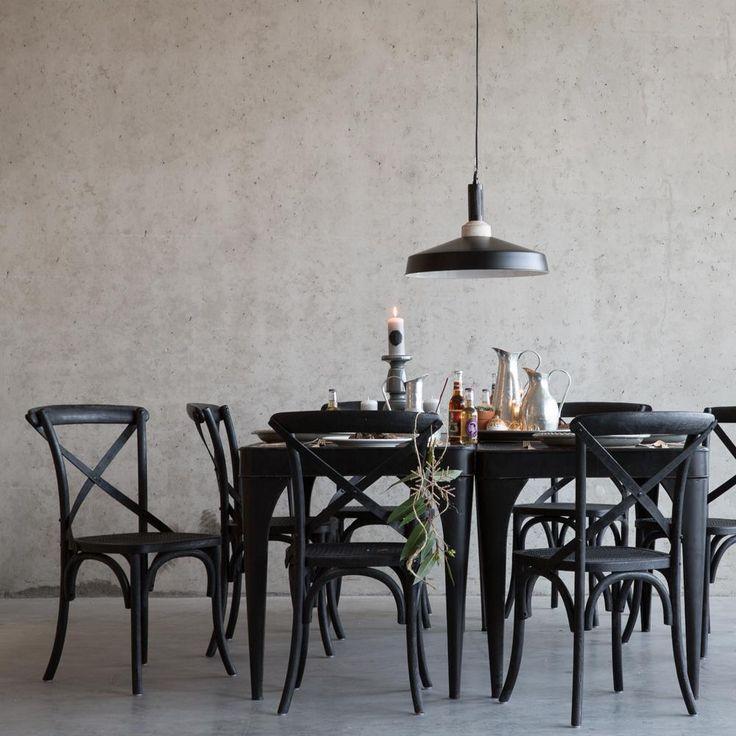 Zwarte eetkamerstoelen van eikenhout