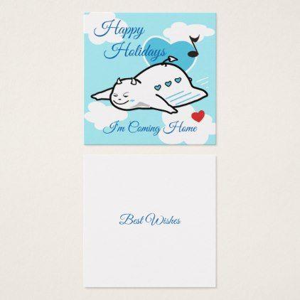 Cute Shy Devil Happy Flight Home Square Business Card - blue gifts style giftidea diy cyo