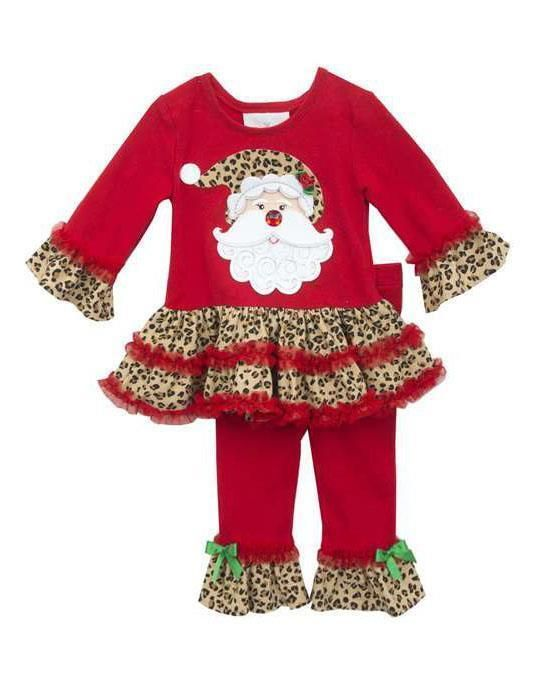 New Girls Rare Editions sz 4T Red Leopard SANTA Outfit Holiday Christmas Clothes #RareEditions #Holiday #TopLeggingsset