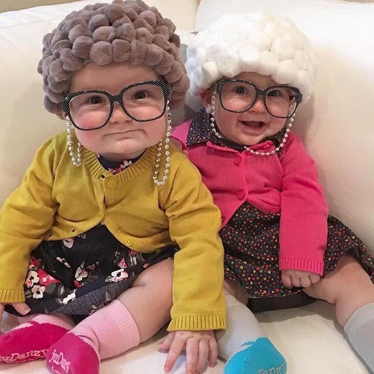 Little babies dressed as old ladies! Too cute!