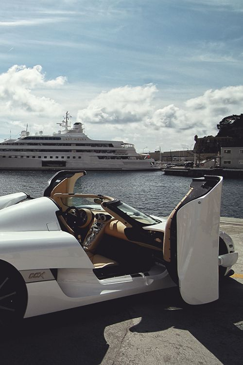 #Koenigsegg #CCX exotic luxury car white yacht cruise water seaside vacation