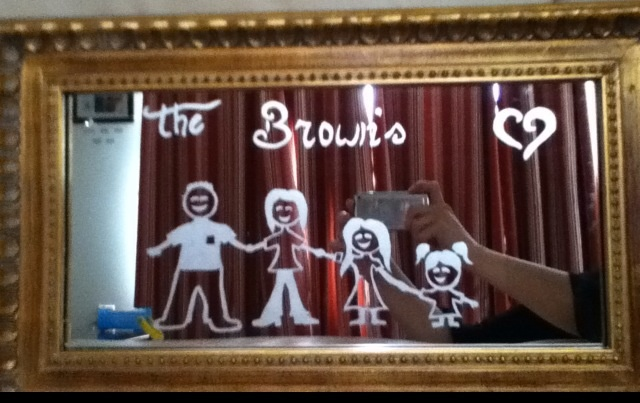 My Family Etched on an Antique Looking Mirror