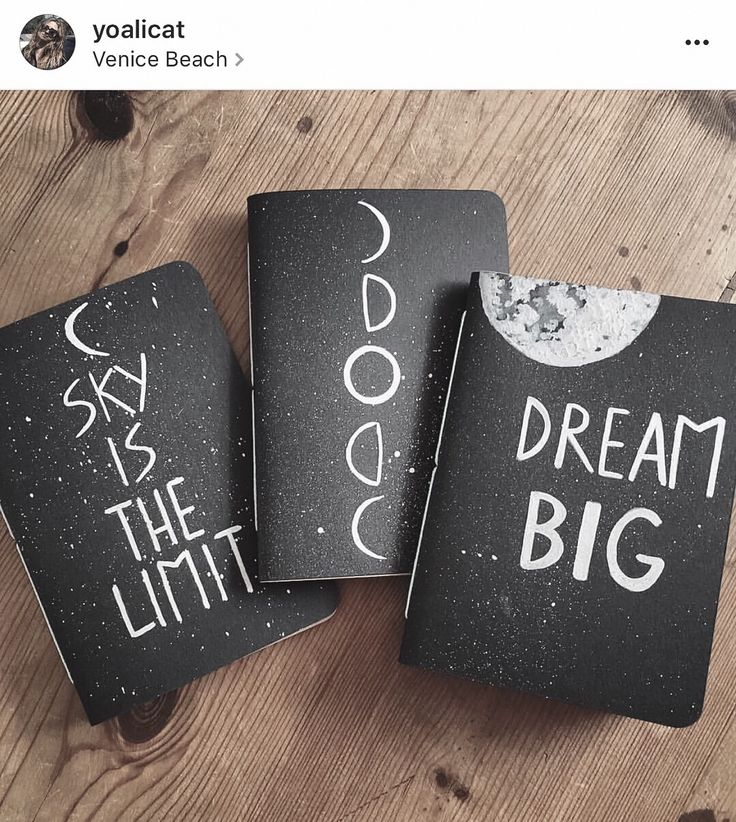 Pack of starry black notebooks, moon phases, stars, inspirational quotes, stationary, dream big, sky is the limit