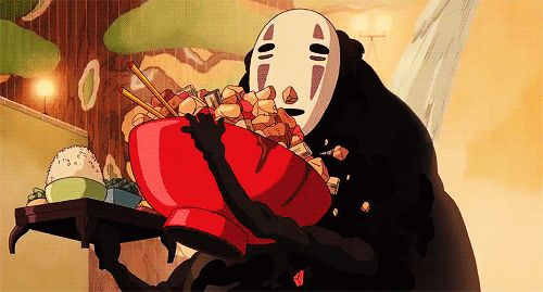 New party member! Tags: anime food eating hungry studio ghibli spirited away ghibli nom no face