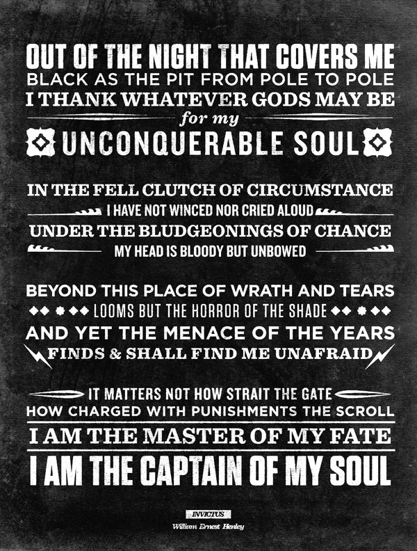 invictus by william ernest henley essay Invictus, as it has come to be called, is the only poem composed by william ernest henley that saves him from fading into obscurity amongst victorian writers.