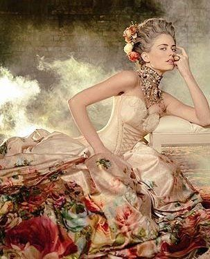Vintage Inspired Marie Antoinette | Colorful Wedding Dress | Ball Gown | michal negrin