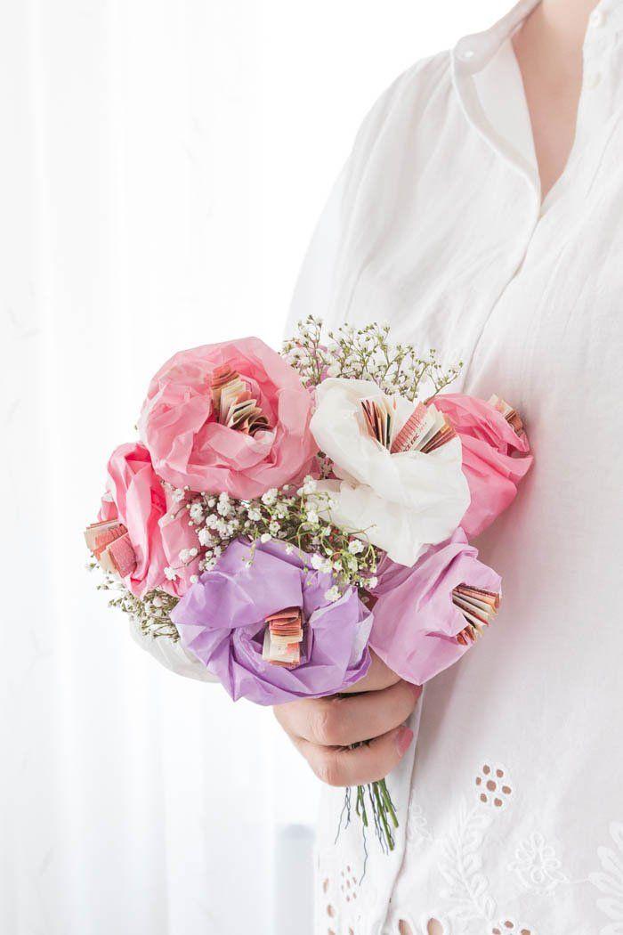 Geldgeschenk Zur Hochzeit Blumen Aus Papier Basteln Diy Paper