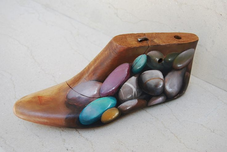 Painted wooden shoe trees