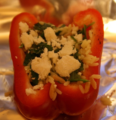 Stuffed Red Peppers with Feta and Orzo