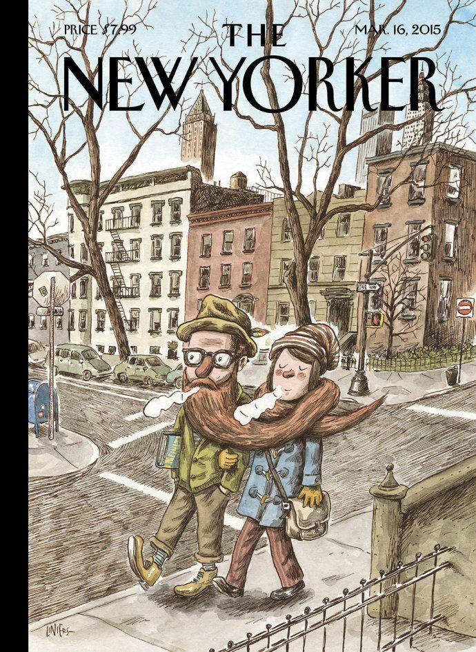 """I wanted to show the hipster in his natural habitat, so it had to be set in Brooklyn,"" (l'illustrateur @porliniers dans le @NewYorker, à propos de la couv' de cette semaine)"