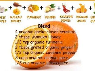 Nature's Flu Shot Recipe  Ingredients:  4 clove garlic, crushed  2 Tbsp honey  1/2 tsp tumeric  2 Tbsp ginger, grated  1/2 tsp cayenne pepper  3 c orange juice, fresh  1/3 c lemon juice  Directions:  1. Mix all ingredients together until blended.   2. Take 3 - 4 times until symptoms are gone.   3. Keep in a glass container in the refrigerator.