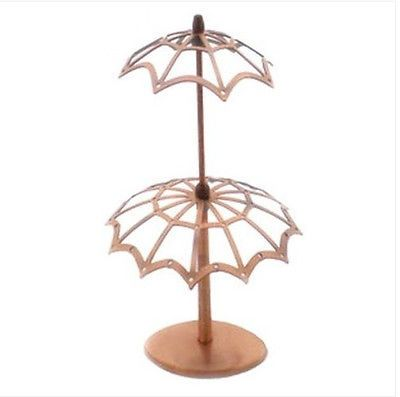 ED011-Copper-Vintage-Umbrella-Earring-Display-Jewelry-Stand-Holder-22-11-5cm-1PC