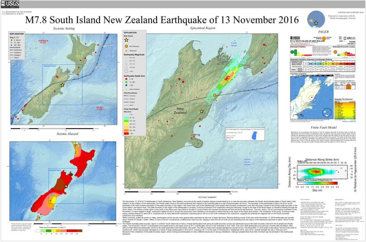 Poster of the South Island New Zealand Earthquake of 13 November 2016 - Magnitude 7.8 ---  http://earthquake.usgs.gov/earthquakes/eqarchives/poster/2016/20161113.php