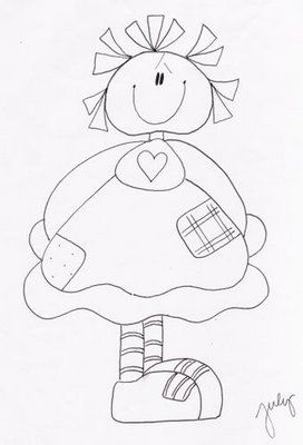 I'm thinking that you could use an embroidery pattern like this as a label. Write in the blank space in the middle, in this case her dress, and then cut it out and applique it onto the back of a quilt.
