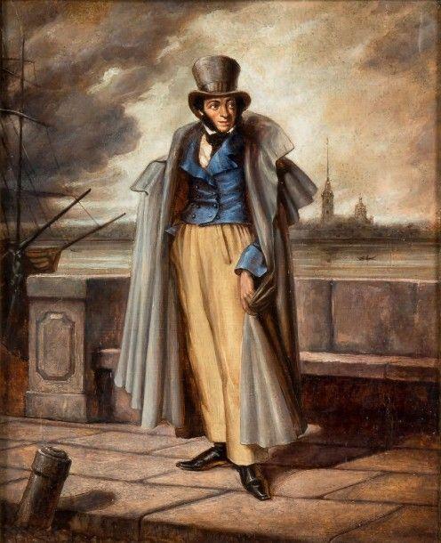 BOREL, Piotr Feodorovitch (1829-1898) Portrait d'Alexandre Pouchkine dans la perspective de la forteresse Pierre-et-Paul. Vers 1875. Huile sur toile. 43 x 35 cm. Signé en bas à droite. Sur le châssis,… - Binoche et Giquello - 15/06/2015