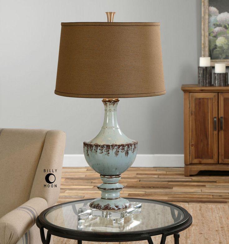 "32"" AGED BLUE & DARK RUST CERAMIC TABLE LAMP LINEN SHADE CRYSTAL BASE LIGHT #Unbranded #Southwestern"