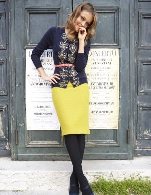 Navy + Yellow is never wrong.Colors Combos, Yellow Skirts, Modest Fashion, The Offices, Dame Skirts, Pencil Skirts, Teaching Outfit, Belts, Offices Fashion