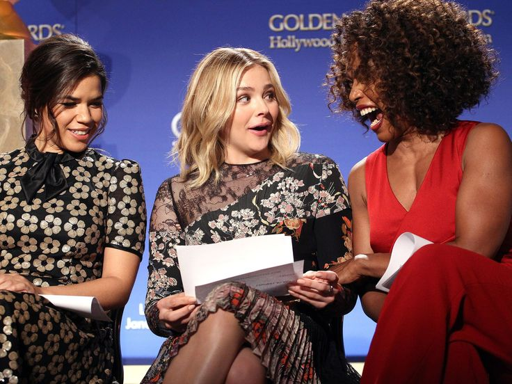 Angela Bassett, right, laughs with Chloe Grace Moretz and America Ferrera at the 73rd Golden Globe Awards nominations announcement, Thursday, in Beverly Hills.  Tommaso Boddi, WireImage