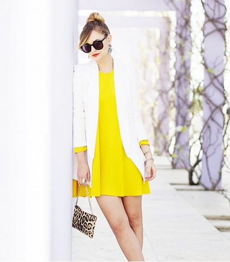 white and yellow with a pop of leopard